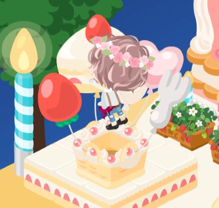 ケーキ風船に飛びつく兄さん